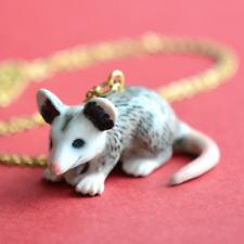 Possum Opossum Necklace Porcelain Charm Hand Painted Pendant & Gold Chain