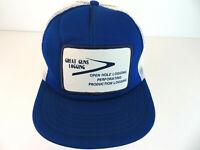 Vintage Great Guns Logging Mesh Truckers Hat - Blue Snapback Cap