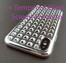 SILVER METAL STUD TPU SKIN CASE COVER FOR APPLE IPHONE X