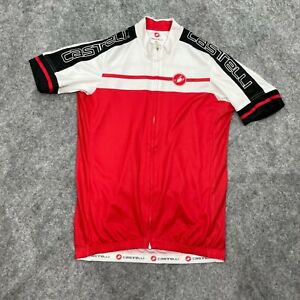 Castelli Mens Jersey Size Large Cycling Full Zip Short Sleeve Polyester