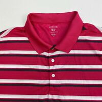 George Polo Shirt Men's Size 2XL Short Sleeve Pink White Gray Striped Golf