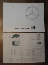 MERCEDES Benz 190D fintail ORIG 1964 UK Mkt opuscolo + le specifiche di vendita