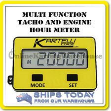 GO KART TACHO and HOUR METER - KARTELLI - DIGITAL - WITH ITALIAN RUBBER MOUNT