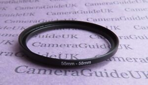 55mm 58mm 55mm-58mm Stepping Step Up Filter Ring Adapter
