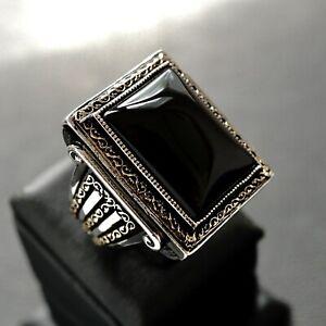 Sterling Silver Mens Ring black Onyx 925 Solid Turkish Artisan Elegant Jewelry