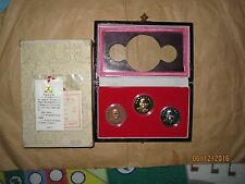 China (PRC) Sun-Yat-sen Proof gild + nick + copper 3 Medal coins with COA & BOX