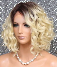 Short Btown roote Blonde mix Wig Full Lace Front Curly Hairpiece NWT KRN TT4-613