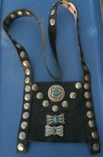 OLD NAVAJO BANDELERO BAG STERLING ADORNMENTS AND COINS