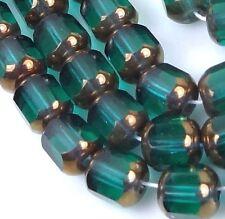 25 Czech Antique Style Octagonal beads - Bronze: Emerald