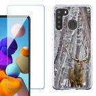 Slim Case for Samsung Galaxy A21  w/ Tempered Glass - Deer/Snow/Camo