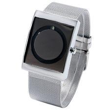 Silver Cool Metal Iron Net Mesh Band Circle Quartz Wrist Watch Mens Unisex PAIDU