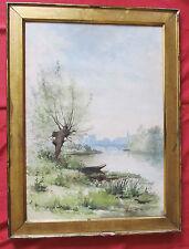 """Superbe aquarelle école de barbizon de 1887 sig André """"barque prés du saule """""""