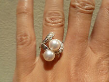 Vintage 14k white gold Japanese akoya cultured pearl twin double seed ring 7.5mm