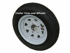 """*2* 5.30-12 LRC Bias Trailer Tires on 12"""" 5 Lug White Trailer Wheels 5.30x12"""