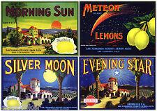 4 ORIGINAL LEMON CRATE LABELS VINTAGE 1920 & 30S SAN FERNANDO VALLEY ASTRONOMY