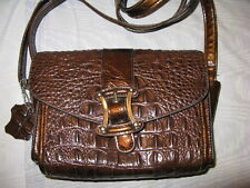 BROWN GENUINE MOC CROC LEATHER SHOULDER ORGANIZER PURSE, UNBRANDED