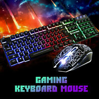Rainbow LED Gaming Keyboard and Mouse Set  Multi-Colored Backlight Mouse Wired