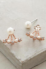 NIP Anthropologie Bellatrix Jacket Earrings by Capwell & Co. Rose Gold & Pearl