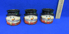 3 Snowman Candle Holders Christmas Winter Decor Ceramic Face Hat & Scarf