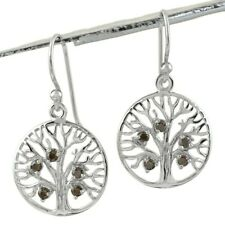 925 Sterling Silver 0.20 Ct Mystic Topaz CZ Tree of Life Circle Hanging Earrings