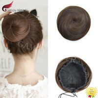 US Lady Human Hair Bun Updo Cover Drawstring Elastic Scrunchies Chignon Ponytail