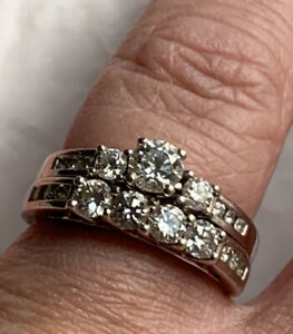 "14k White Gold Round Diamond Engagement Bridal Set  6 3/4"" 1.11cttw paid $3700"