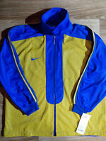 NIKE 90's Vintage Mens Basketball Tracksuit Top Jacket Training Blue Yellow Tags