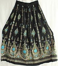 Bohemian Bollywood Indian Hippy Sequin Belly Dance Long Skirt Boho Gypsy Black