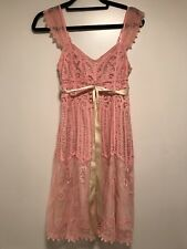 Betsey Johnson Cotton Crochet Babydoll Dress  in Pink, Size 2