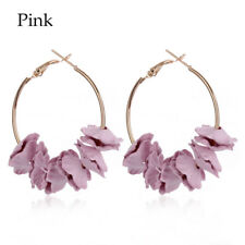 Fashion Flower Hoop Earrings Sweety Colourful Petal Alloy Ear Circle Big Earring