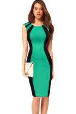 Green Black Midi Dress Flattering Curves Night Club Colorblock Large 6407