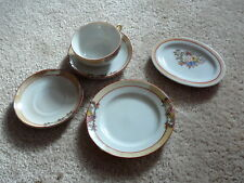 VINTAGE MIJ LUSTERWARE CHILDS TEA SET - CUP - PLATE - 2 SAUCERS & PLATTER FLORAL