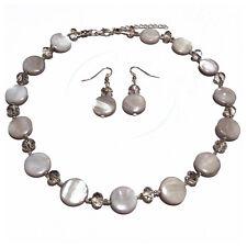 Parure Collier Ras De Cou Boucles d'oreilles Nacre perles facettes grise argenté