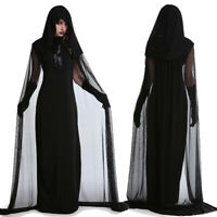 Ladies Gothic Punk Long Dress Black Maxi Gown Fancy Dressing Cosplay Costume