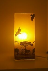 Frosted Glass Yellow African Table Lamp without Base Handmade Gift Decoupage Dec