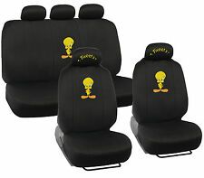 Tweety Bird Car Seat Covers - Front & Rear Full Set, 5 Head Rest Original Design