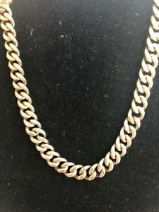 MEN'S VINTAGE NAPIER STERLING SILVER VERMEIL CUBAN LINK NECK CHAIN.