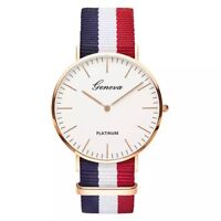 Fashion Women Men Wristwatch  Casual Quartz Watch with Multicolor Nylon Watch