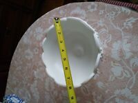Vintage Milk White Glass Dish, Pedestal Base, Large, Teardrop Pattern in Threes