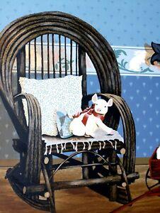 HUGE AUTHENTIC Huntington Happy Pig Toy Rocking Chair Folk Artwork on Canvas
