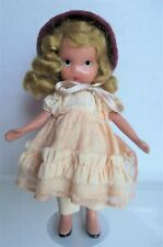"5"" Nancy Ann Story Book, Pretty as a Picture in peach, on stand, Frozen Legs"
