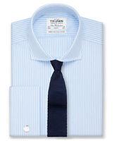 T.M.Lewin Slim Fit Light Blue Stripe Cutaway Collar Shirt