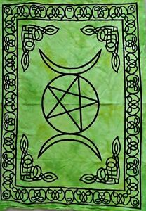 Tapestry Green Color Triple Moon Star Mandala Table Cover Poster Wall Hanging