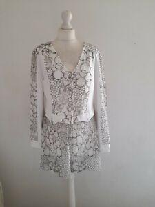 Elisa Cavaletti White & Grey Embroidered Stretchy Tunic Shirt Size L 16 18 Uk
