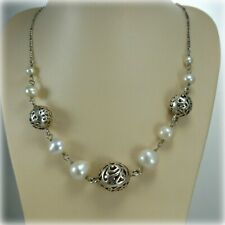 """Sterling Silver 19"""" Freshwater Pearl Necklet with Silver Baubles"""