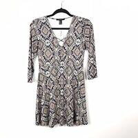 Forever 21 Boho 3/4 Sleeve Lace Up Fit Flare Women's Dress Size Medium NWT