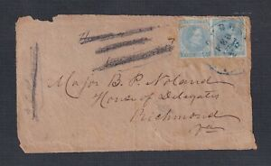 USA CONFEDERATE STATES 1860's 5C IMPERF PAIR ON COVER FRONT TO RICHMOND VIRGINIA