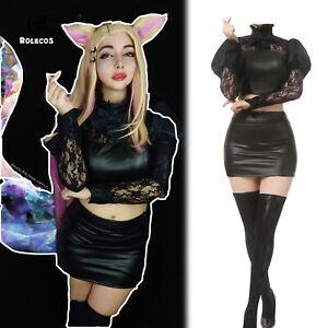 LOL Ahri Cosplay Costume LOL KDA The Baddest Ahri Cosplay Womens Black Uniform