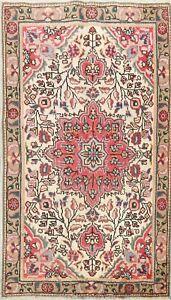 3'x5' Vintage IVORY Tebriz Floral Area Rug Hand-knotted Oriental Kitchen Carpet
