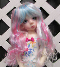 "Doll Wig, ""Sweet Princess"" Size 6/7 Fantasy Wig in Turquoise and Pink"